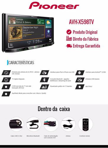 dvd player pioneer avh-x598tv 2din bt,tv,câmera lançamento