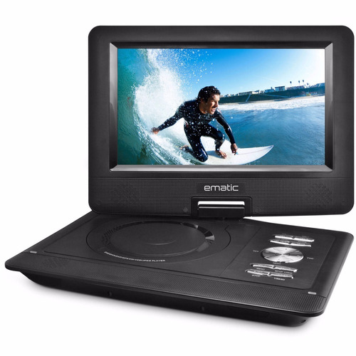 dvd portátil ematic epd909 pantalla lcd 9'' con audífonos