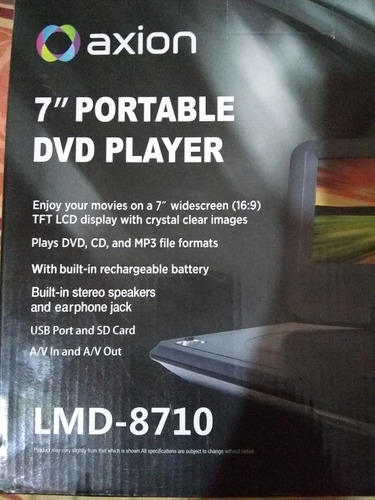 dvd portatil marca axion nuevo