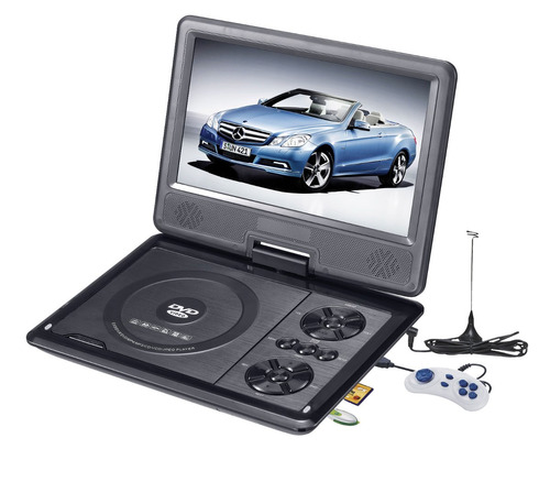 dvd portatil tv tela 7 sd usb fm jogos + bolsa suporte