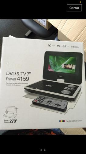 dvd portatil y tv (7 pulgadas) control y antena, gira 180