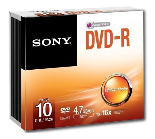 dvd-r 4.7gb 120m 16x box lacrado sony