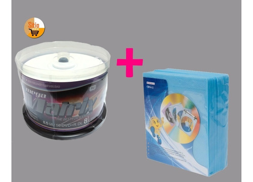 dvd+r doble capa x50 unid 8.5gb +felpa estuche x100 unidades