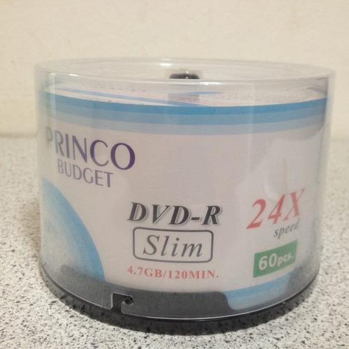 dvd - r slim princo 24x 120min torre de 60 piezas