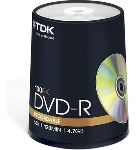 dvd-r tdk estampado 4,7gb 120m 8x bulk cerrado 100 unidades- importadora fotografica - distribuidor mayorista tdk