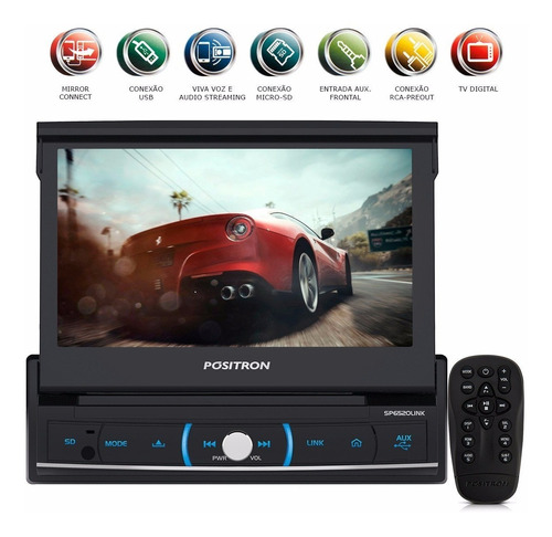 dvd retratil 7'' 1 din sp6520link usb bluetooth positron