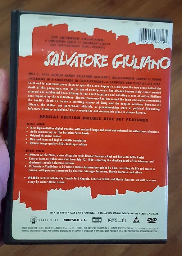 Dvd Salvatore Giuliano - De Francesco Rosi (duplo) Criterion