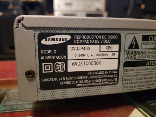 dvd samsung dvd p433 buen funcionamiento detalle de rayones