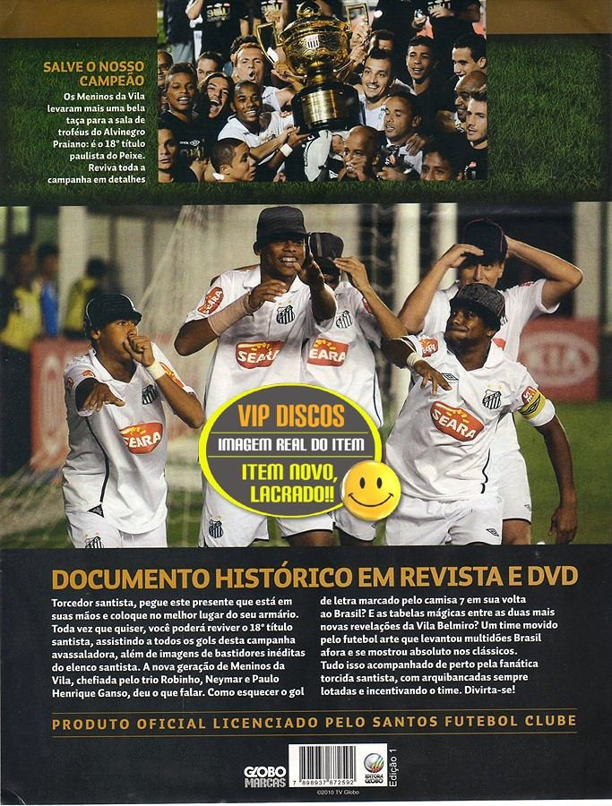0da0f54dda Dvd Santos Campeão Paulista 2010 Neymar Ganso Novo Lacrado - R  150 ...