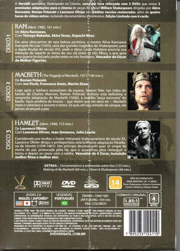 dvd shakespeare no cinema com cards - versatil bonellihq m20