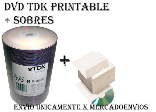 dvd tdk x 200 printable 8x +200 sobres-envio x mercadoenvios
