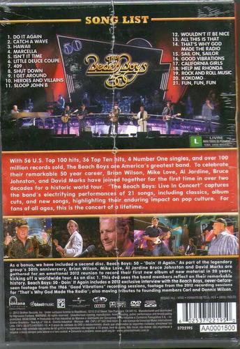 dvd the beach boys - 50 : live in concert (duplo e lacrado)