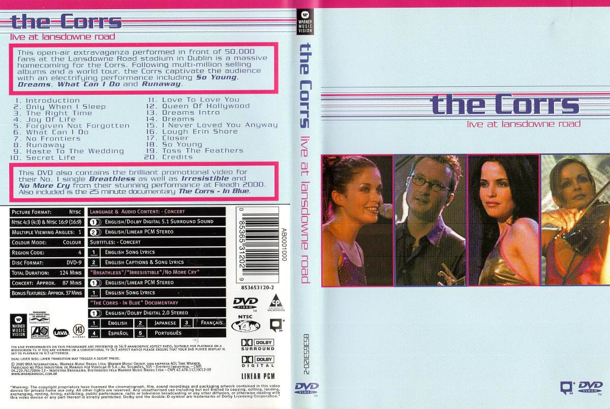 Dvd The Corrs - Live At Lansdowne Road
