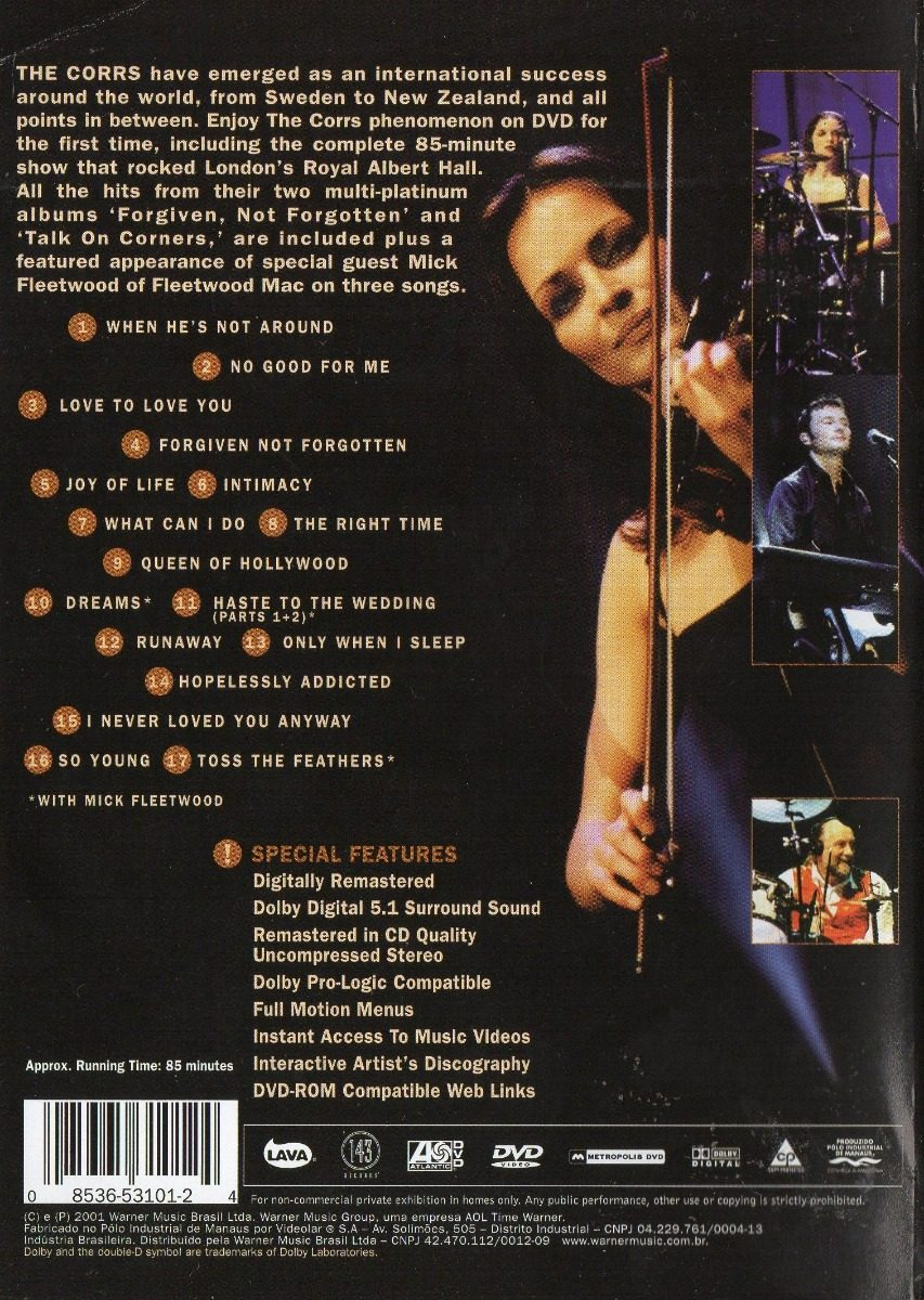 Dvd The Corrs - Live At Royal Albert Hall