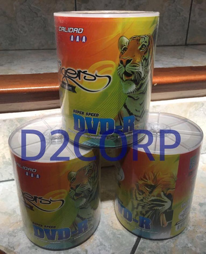 dvd tigers imprimible punta a punta 100unidades 4,7gb 8x