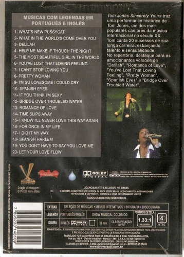 dvd tom jones - sincerely yours - novo***