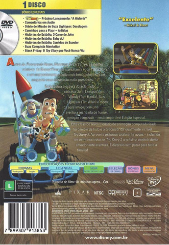 dvd toy story disney pixar novo original