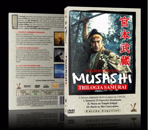 dvd triplo musashi trilogia samurai edição especial lacrado