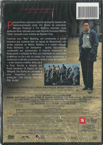 dvd um sonho de liberdade / morgan freeman tim robbins novo