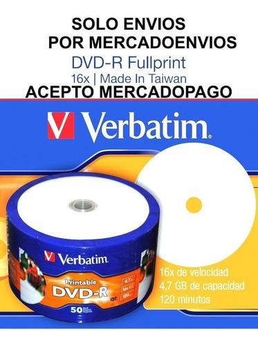 dvd verbatim printable 0 aro x50-envio gratis a todo el pais