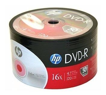dvd virgen hp 4.7 gb 120 min 16x paquetes de 50 originales