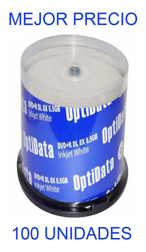 dvd virgen optidata dvd+r 8x 8.5 gb inkjet white doble capa