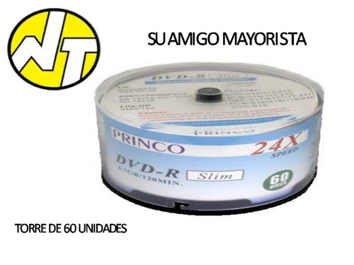 dvd virgen princo slim 4.7gb torre 60 unds mayor  detal nano
