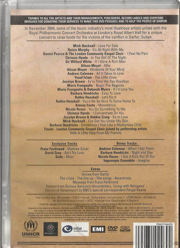 dvd voices for darfur at the royal albert hall london 2005