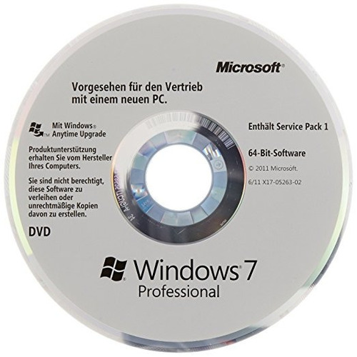 dvd windows 7 pro [licencia de por vida]