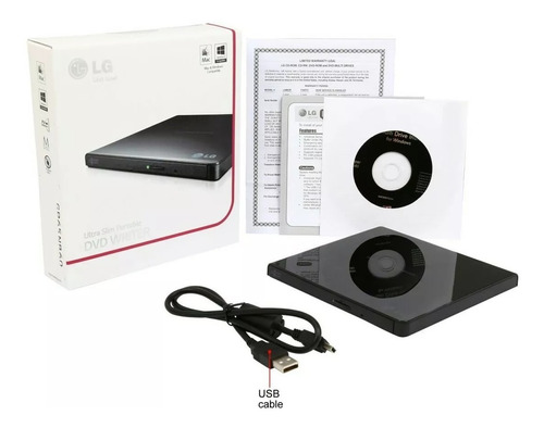 dvd writer ultraslim lg externo gp65nb60 8x quemador cd dvd