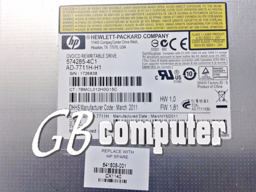 dvd/cd notebook hp dv6 6000 p/n: 641808-001