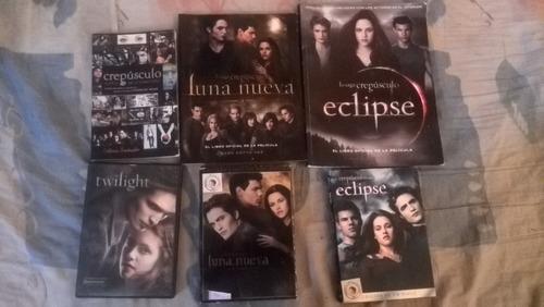 dvds y libros de la película de la saga crepúsculo.