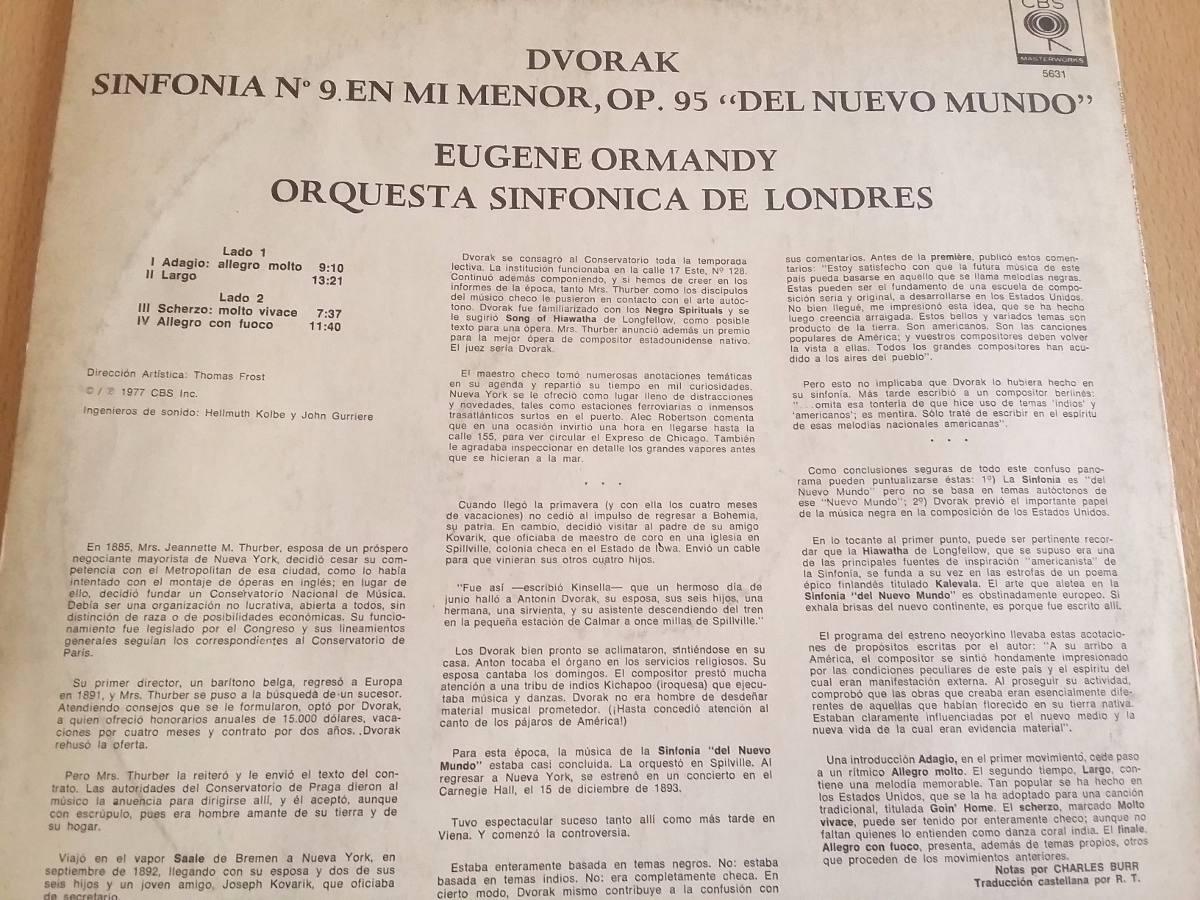 Dvorak Sinfonia Del Nuevo Mundo Eugene Ormandy Vinilo 150 81