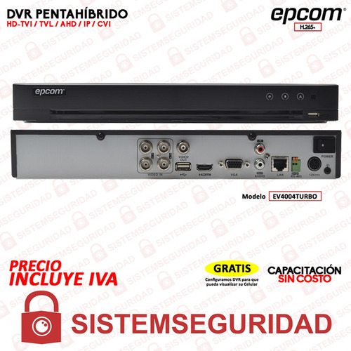 dvr 04 canales epcom turbohd 3mp ev4004turbo