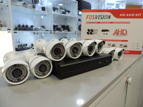 dvr + 8 camaras seguridad 720p hd / fosvision / kit completo