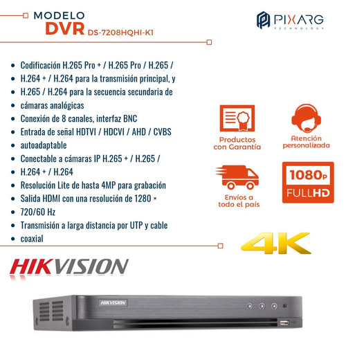 dvr 8 canales hikvision full hd 1080p linea hqhi salida 4k