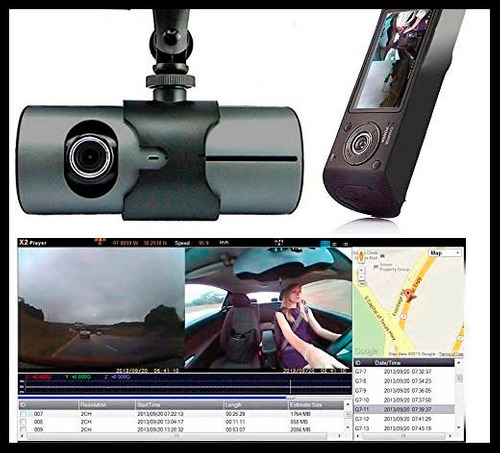 dvr r300 cámara dual para carro + antena gps 1080p sensor g