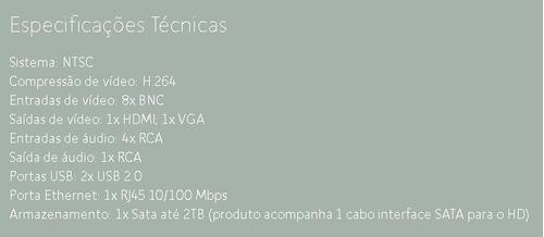 dvr stand alone 8 canais p2p acesso celular h.264 240fp + hd