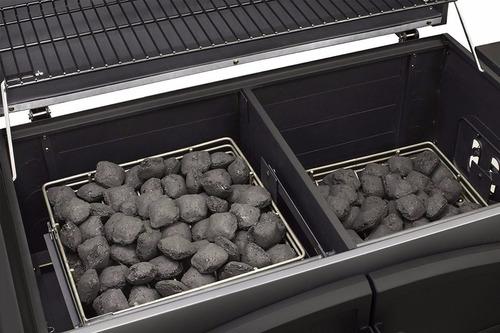 dyna-glo parrilla asador doble carbón heavy duty inoxidable