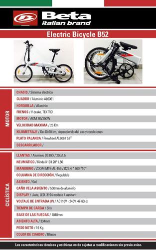 e-bike bici  electrica beta b 52 250w plegable hasta 12/10