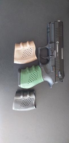 e grip para pistolas, universal, verde, negro, arena.