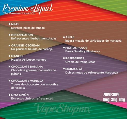 e liquid e juice liquido electrónico premium 30ml para vape