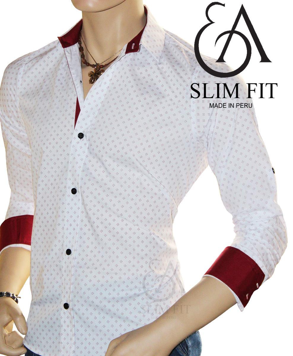 f5ff794c9203f ea slim fit - camisa rombo m larga euromoda fresca y juvenil. Cargando zoom.