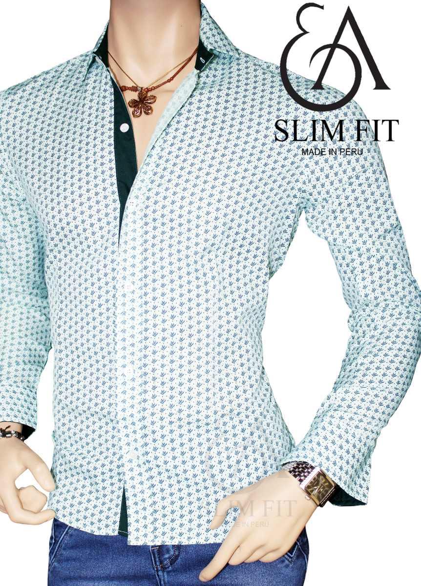 dd616680645e5 ea slim fit - camisa silver m larga moda juvenil hombre. Cargando zoom.