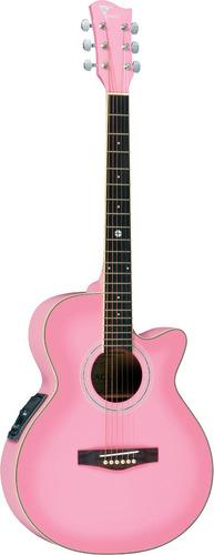 eagle ch10 violão el. aço personalizado rosa - frete grátis