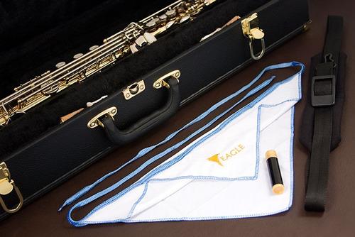 eagle sp502ln saxofone soprano laquer/niquel - frete grátis