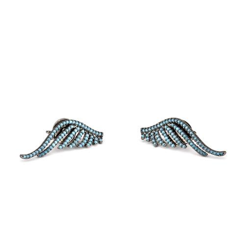 ear cuff asa em ródio negro zircônia nano turquesa br010117