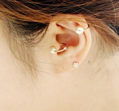 earcuff solitario zarcillo perla doble moda fashion mujer