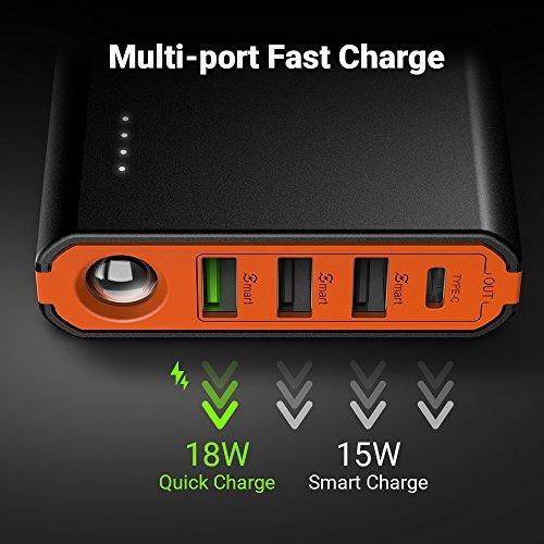 easyacc 20000mah usb c power bank cargador portatil quick ch