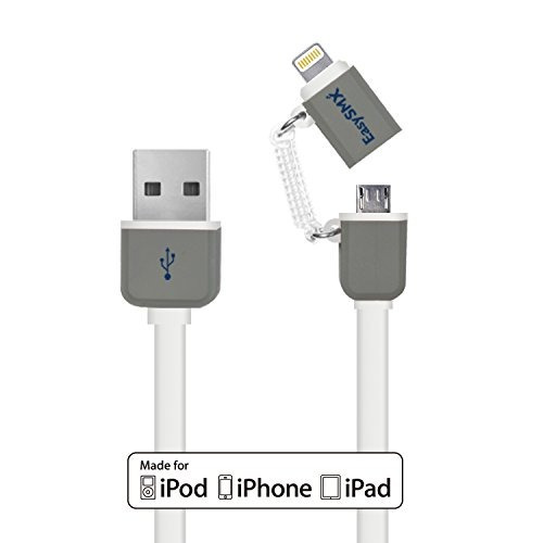 easysmx de apple mfi certificado 2-en-1 cable usb con conec